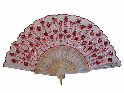 Peacock Pattern Sequin Fabric Hand Fan with White Background