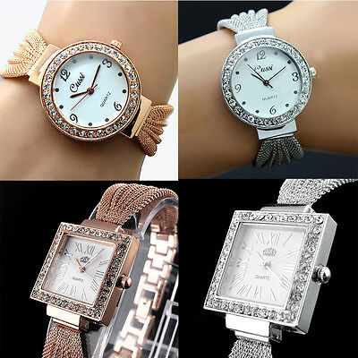 New Women Bracelet Stainless Steel Chic Fashion Crystal Dial Wrist Watch