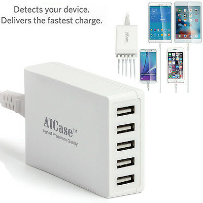 Universal 5 USB Multi-Port Travel Wall Charger Desktop Quick Charging Station