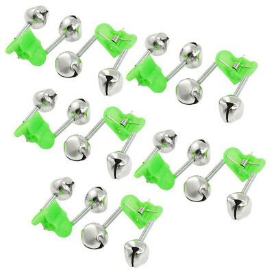 10Pcs×Rod Tip Clamp Fishing pole fish Bite Lure Alarm Alert Twin Bell Ring clip