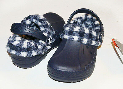 $30 Crocs Kids Plaid Blitzen Navy Blue Oatmeal C10//11 J1 J2 or M1W3 M2W4
