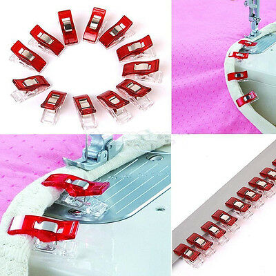 50 Wonder Plastic Clips Clamps for Quilting Sewing Knitting Art Craft Red&White