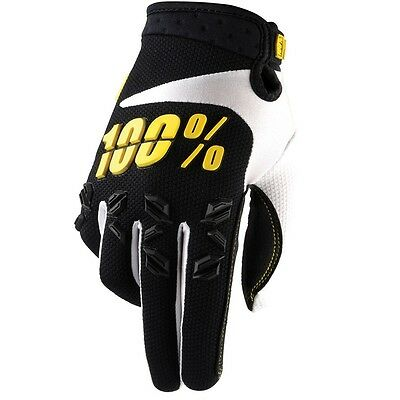 100% Percent NEW Mx Gear Airmatic Black Yellow BMX Motocross Dirt Bike Gloves