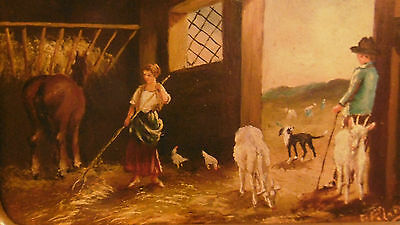 Antique miniature painting oil on hardboard 19th country scene woman man horse