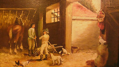 Antique miniature painting oil on hardboard 19th country scene men horse dog 2