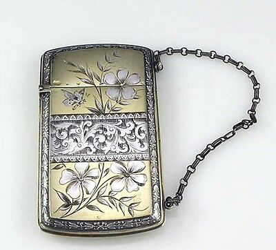 American AESTHETIC Sterling Card Case Wood & Hughes BUTTERFLY