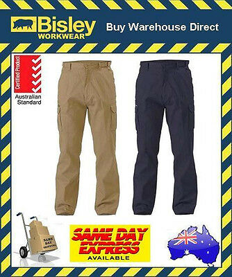 Bisley Workwear 8 Pocket Cargo Cotton Drill Work Pant NAVY or KHAKI BPC6007