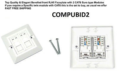 BEVELLED CAT6 RJ45 MODULES Double Face Plate Ethernet Network 2 Port Wall Socket