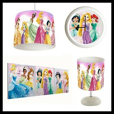 DISNEY PRINCESS - Bedroom Bundle Lampshade, Lamp, Clock, Canvas Prints FREE P&P
