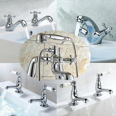 Traditional Chrome Bathroom Taps Set Victoria Bath Filler Shower Mixer Basin Tap