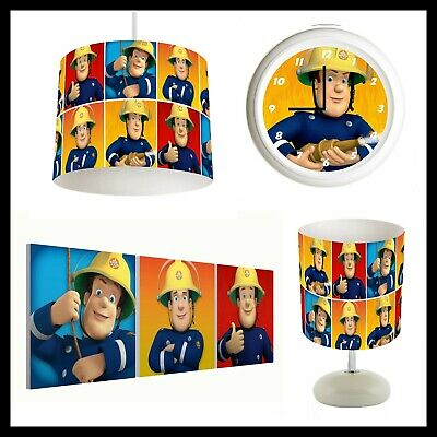 FIREMAN SAM - Bedroom Bundle Lampshade, Lamp, Clock, Canvas Prints FREE P&P