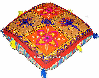 """16"""" Square  Embroidered Cushion Seat Floor Ottoman Pouf Stool Boho Cover INDIAN"""