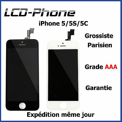 VITRE TACTILE IPHONE 5S / 5C / 5 + ECRAN LCD SUR CHASSIS - Grade AAA