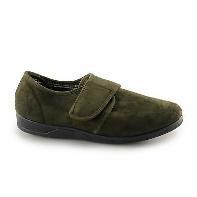 Sleepers TOM Mens Faux Suede Comfort Soft Touch Fastening Full Slippers Khaki