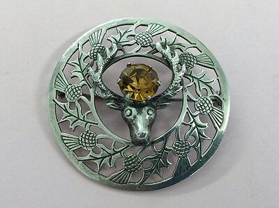 Vintage Scottish Silver & Paste Stone Thistle Stag Brooch Pin 1940