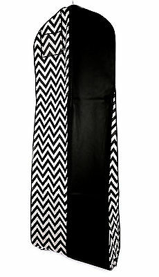 Black White Chevron Breathable Wedding Gown Prom Dress Garment Bag Extra Long