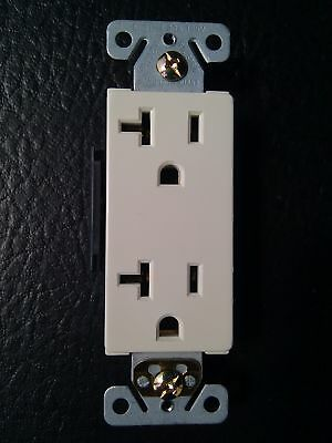 (20 pc) Decorator Duplex Receptacles 20 Amp Almond Self Grounding 20A Outlets