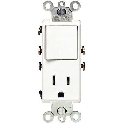 (1 pc) Decorator Rocker Switch Combo Combination Outlet Single Pole 15A White