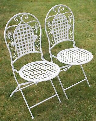 Two White Floral Outdoor Folding Metal Round Garden/Patio Chairs