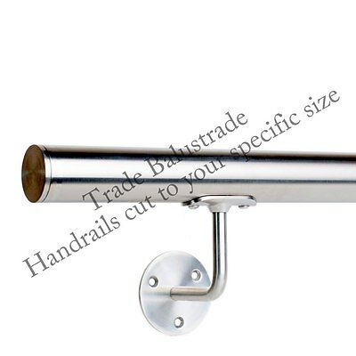Stainless Steel Handrail banister rail with Brackets and Flat End Caps