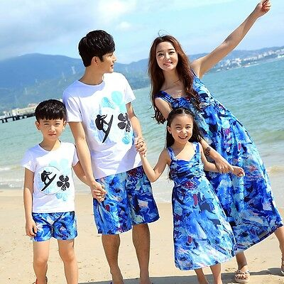 New Summer family outfits Sport girls mother Blue Dresses Boys father sets