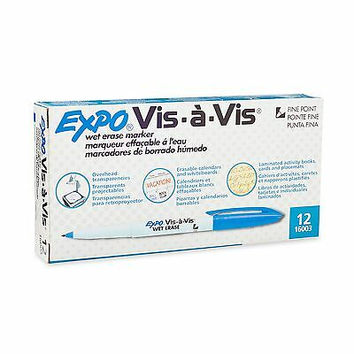 Expo Vis-A-Vis Wet-Erase Overhead Transparency Markers Fine Point 12-Pack Blue