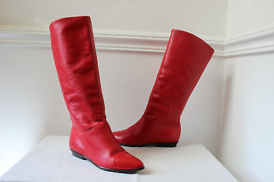 Vintage 80s red leather long flat riding slouch boots UK 4.5 US 6.5M womens