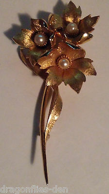 Signed Vintage Brooch/Pin S7 - RARE Marcel BOUCHER 3 Gold Tone Flowers w/ Pearls
