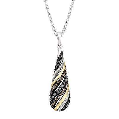1/2 ct Champagne, Black & White Diamond Pendant in Sterling Silver & 14K Gold