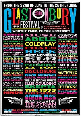 Glastonbury 2016 Poster A3 A4