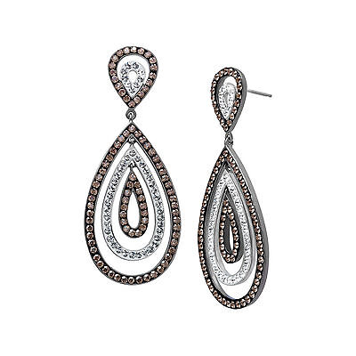 Crystaluxe Drop Earrings with Swarovski Crystals in Sterling Silver