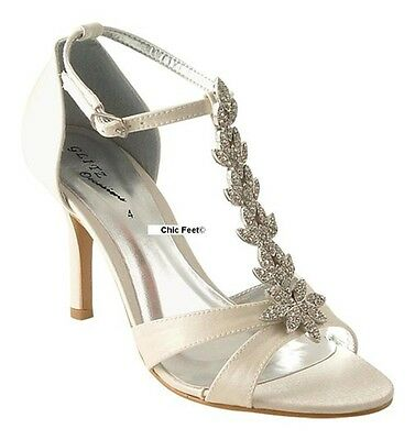 New Ladies Ivory Satin Wedding Bridal Prom T Bar Diamante Mid Heel Shoes Sandals