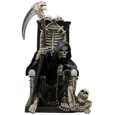 Grim Reaper on Throne Statue with Skulls & Skeletons Halloween Decoration Gifts