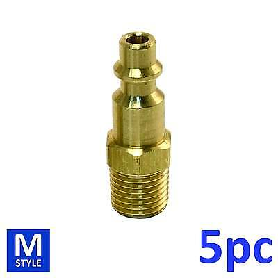 """5pc Industrial Solid Brass Air Fittings 1/4"""" NPT male Milton M type Plug 727"""