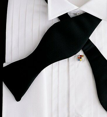 NEW Mens Black Satin Self Tie Bowtie Tuxedo Formal Wedding Bow Ties Adjustable