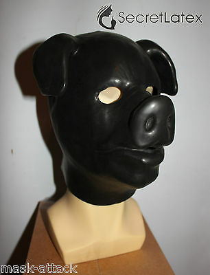 Latex Black Gum Fetish Pig Full Head Rubber Hood Boar Doll Man Men Cosplay Mask