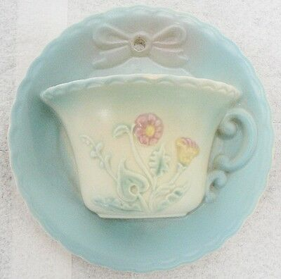 "Vintage Hull Art Pottery 6"" Cup & Saucer Wall Pocket With Bow Knot Pattern"