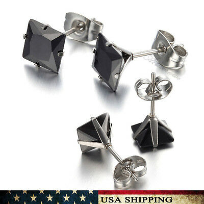 3mm-8mm Black Square Cubic Zirconia for Men&Women Stainless Steel Earrings