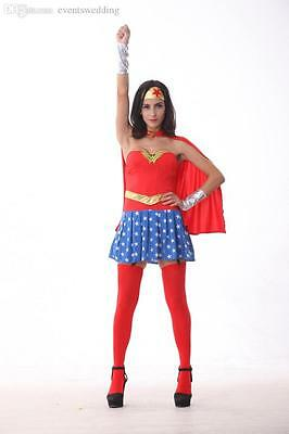 Adult Wonder Woman Girl w/Corset Outfit Costume Set for Cosplay Halloween Party