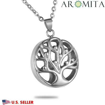 New Tree of Life Round Cremation Jewelry Ashes keepsake Memorial Urn Necklace