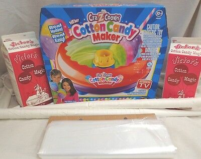 Cotton Candy Maker Starter Kit Machine 100 Bags 100 Cones and 2 Boxes of Sugar