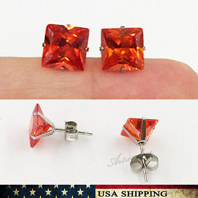 3mm-8mm Red Square Princess Cut CZ for Men&Women Stainless Steel Earrings