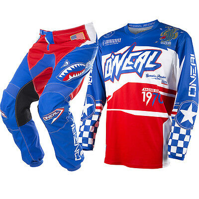 Oneal 2017 NEW Mx Youth Element Afterburner Red Blue Kids Motocross Gear Set