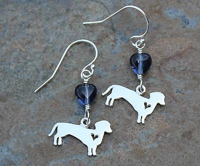 Wiener Dog Earrings -sterling silver dachshund charms with blue glass hearts
