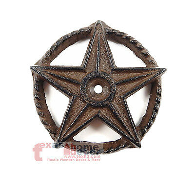 Small Cast Iron Rustic Texas Star Rope Ring Western Arts Crafts Decorative 3 in