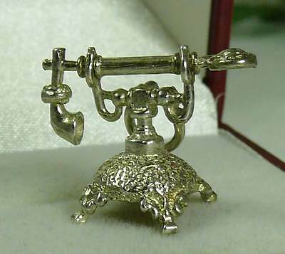 Vintage English Sterling Silver Telephone Charm Handle Moves - 3.1 Grams