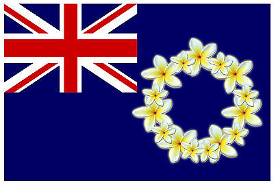 COOK ISLAND FLAG FRANGIPANY FLOWERS YELLOW  Size apr 100mm by 147mm