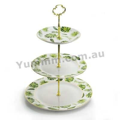 French Embossed Party 3 Tier Porcelain Cup Cake Stand Serving Plate - Illusion