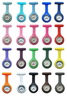 20 Colors 1Pcs Fashion Silicone Brooch Tunic Fob Pocket Nurse Watch Free Battery