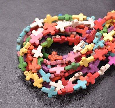16''1Strand Howlite Turquoise Side Ways Crosses Spacer Beads 15X12MM PICK Colour